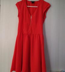 H&M coral red haljina