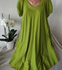 Kivi zelena leprsava pamucna haljina vel S/M