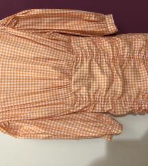 Karirana narandzasto/bela haljina