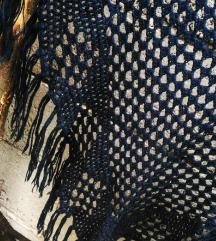 Prelep plavi Heklani sal ogrtač 100% rucni rad