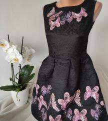 Reljefna haljina sa leptirima vel M