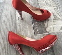 Crvene cipele sa cirkonima na štikli