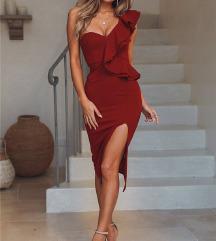 Crvena Mini / Midi haljina NOVO 36 S Snizeno