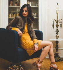 H&M Mustard Lace Dress