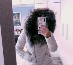 Kožna jakna i krzno polarne lisice S