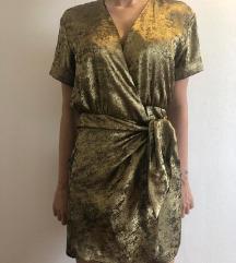 ZARA zlatna haljina na vezanje