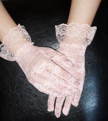 Puder roze cipkane rukavice