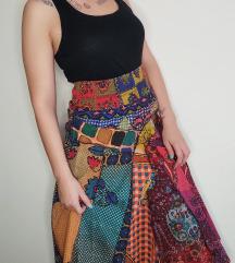 UNIKATNA pačvork multikolor suknja NOVO