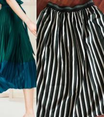 Midi zelena pruge suknja