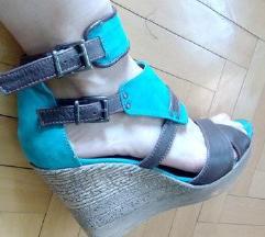 Sandale kozne puna peta braon tirkiz