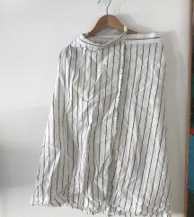 Suknja Mango na preklop od lana