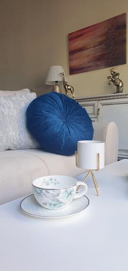 Plavi okrugli jastuk handmade
