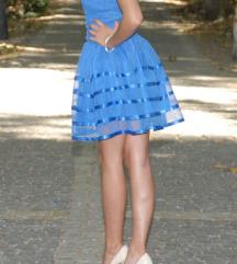 Kraljevsko plava haljina sa tilom