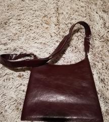 Bordo kozna torba