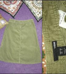 H&M zelena midi suknja