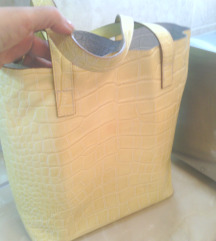 %Žuta kožna dupla tašna velika -NOVA