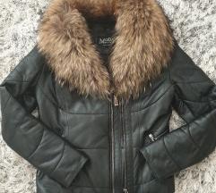 Kožna jakna sa krznom lisice S