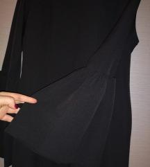 Crna elegantna haljina sa karner rukavima SNIZENO