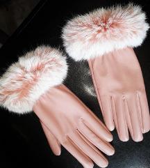Touch screen roze rukavice prirodno krzno za 3100