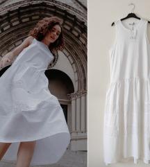 ZARA čistobela oversized haljina sa vezom NOVO