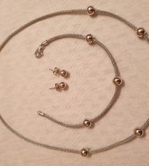 Komplet ogrlica, narukvica i mindjuše srebro 925
