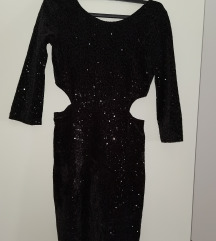 Crna sljokicava haljina