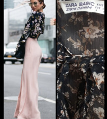 ZARA Pussy Bow cvetna bluza