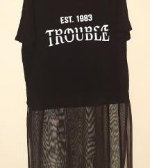 BERSHKA majica sa providnim produžetkom