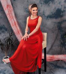 Crvena svečana duga haljina sa tilom