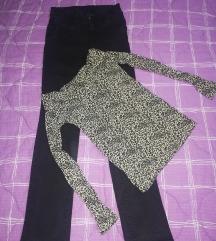 Crne farmerke i leopard bluza