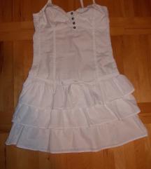 Bela haljinica sa karnericima za mrsavice S vel