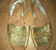Kožne zlatne sandale