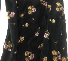 Crna letnja suknja sa cvetićima
