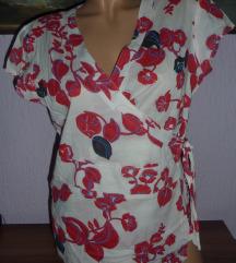 Bela tunika na cvetove na preklop *SNIZENO*