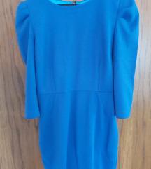 Mini plava haljina sa puf rukavima