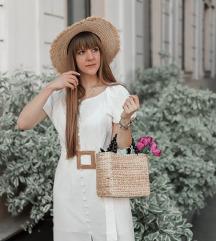 Bela lanena haljina NOVO