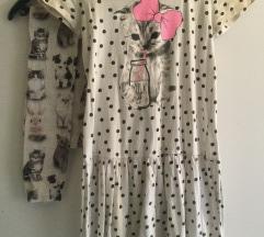 Tunika - haljina I helanke maca  134 - 140