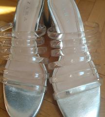 ZARA metalik sive papuce br 38