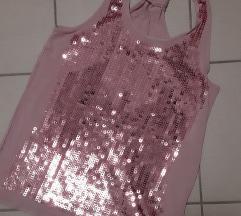 Roza majica sa šljokicama