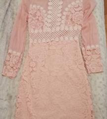 Cipkasta roze haljina S