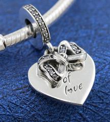 Pandora Srce sa Masnom srebro s925