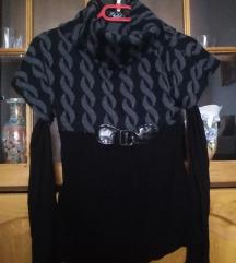 Crno-siva bluza sa vecom rol  kragnom DOGOVOR