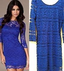 Nova kraljevsko plava cipkana haljina