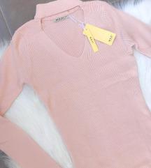 Knit midi bodycon puder roza haljina NOVA sa et.