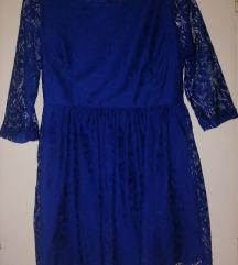 Čipkana plava haljina