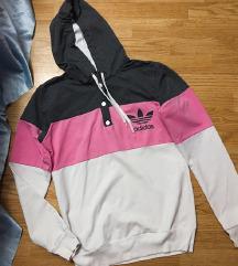 Adidas roze-sivi duks, novo
