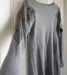 Džemper tunika hajina sa ukrašenim rukavima