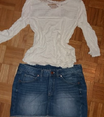 bluzica i hm teksas suknja samo 700 din