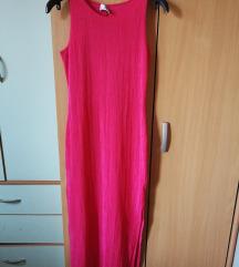 Pink duga haljina sa šlicem i otvorenim leđima