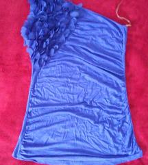 Kraljevsko plava majica na jedno rame-royal blue